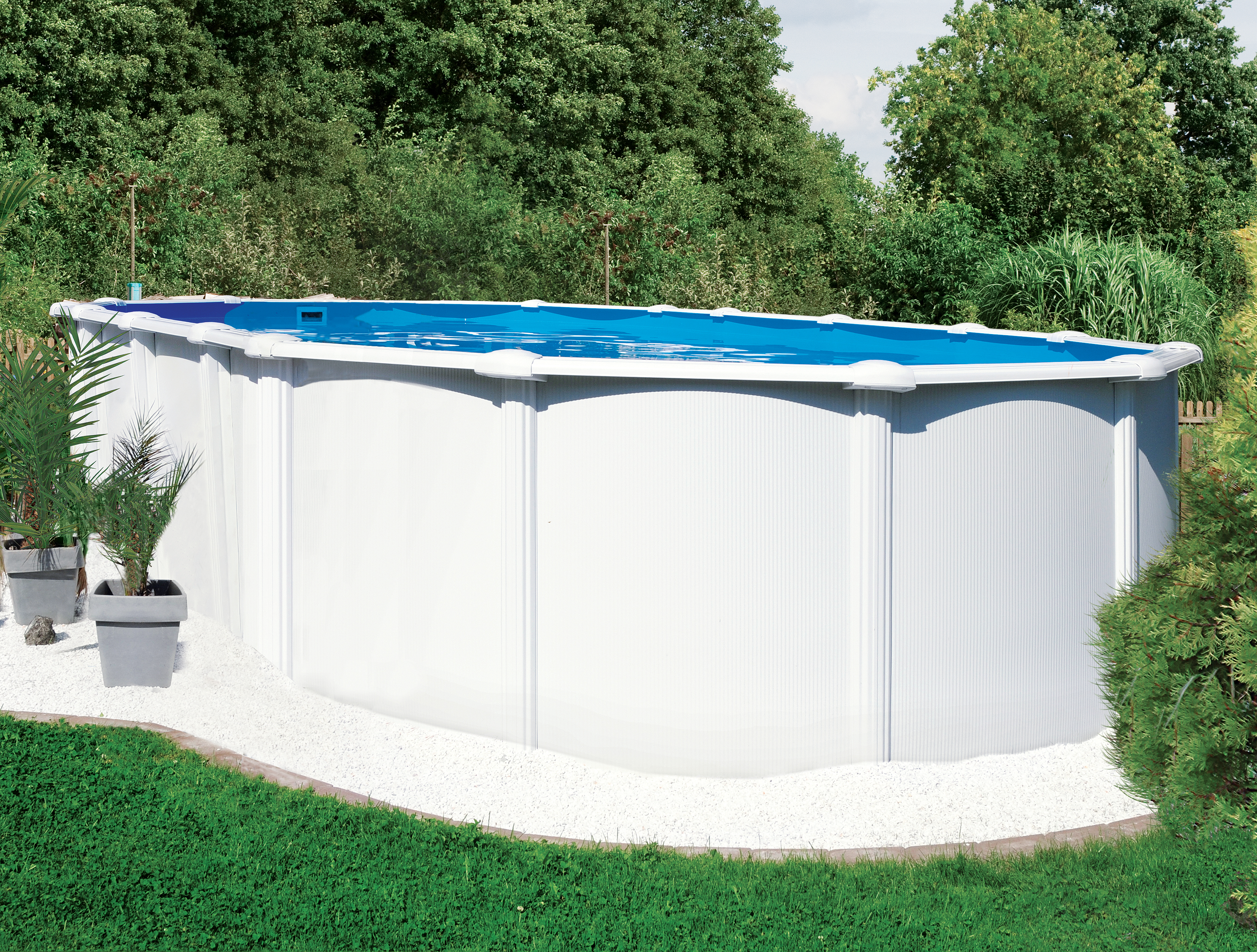 Steirerbecken pool 6 1x3 7x1 32m std oval wei for Stahl pool oval