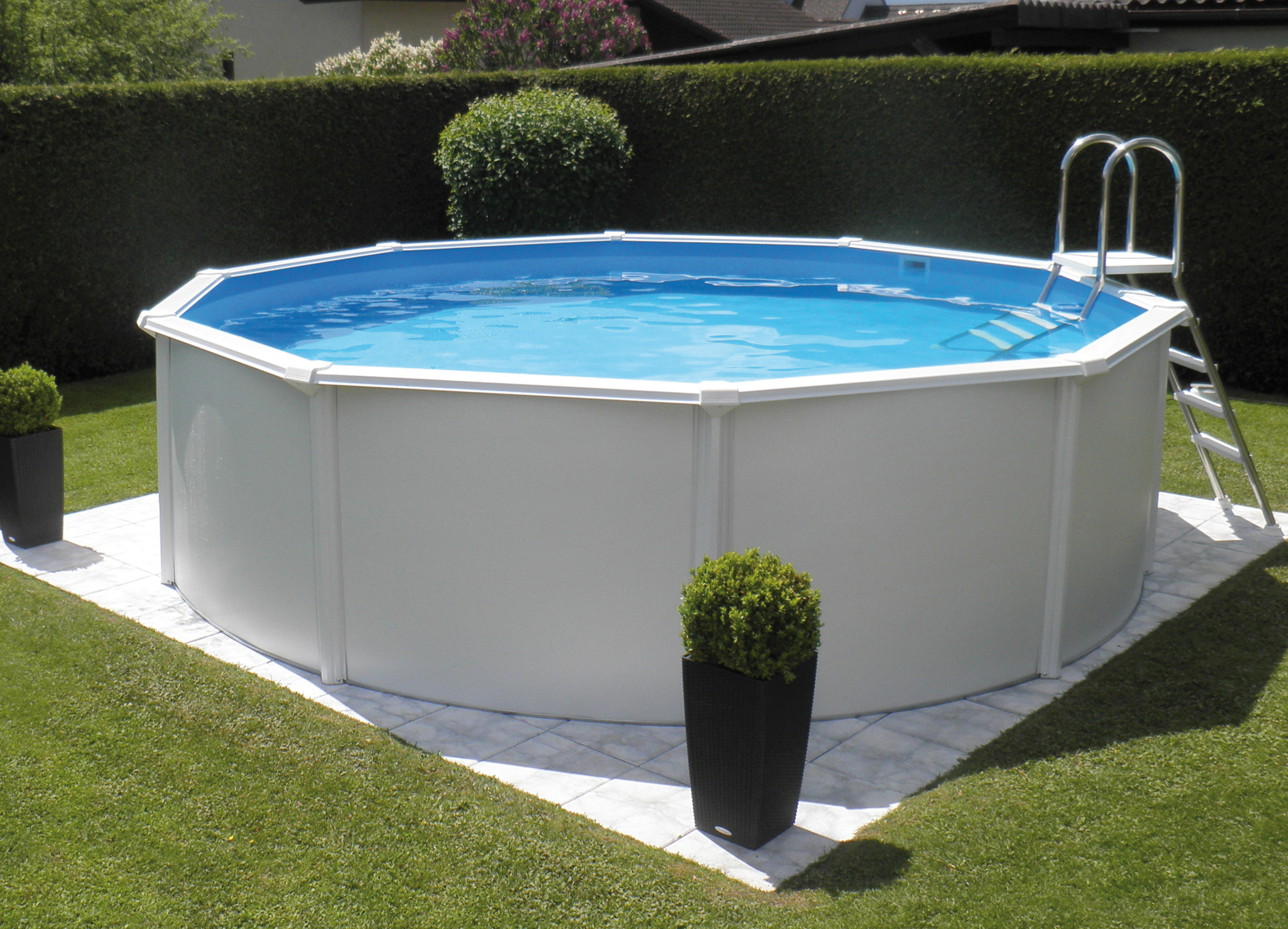 Steirerbecken pool 3 6x132m supreme de luxe rund 132 wei for Stahl pool rund