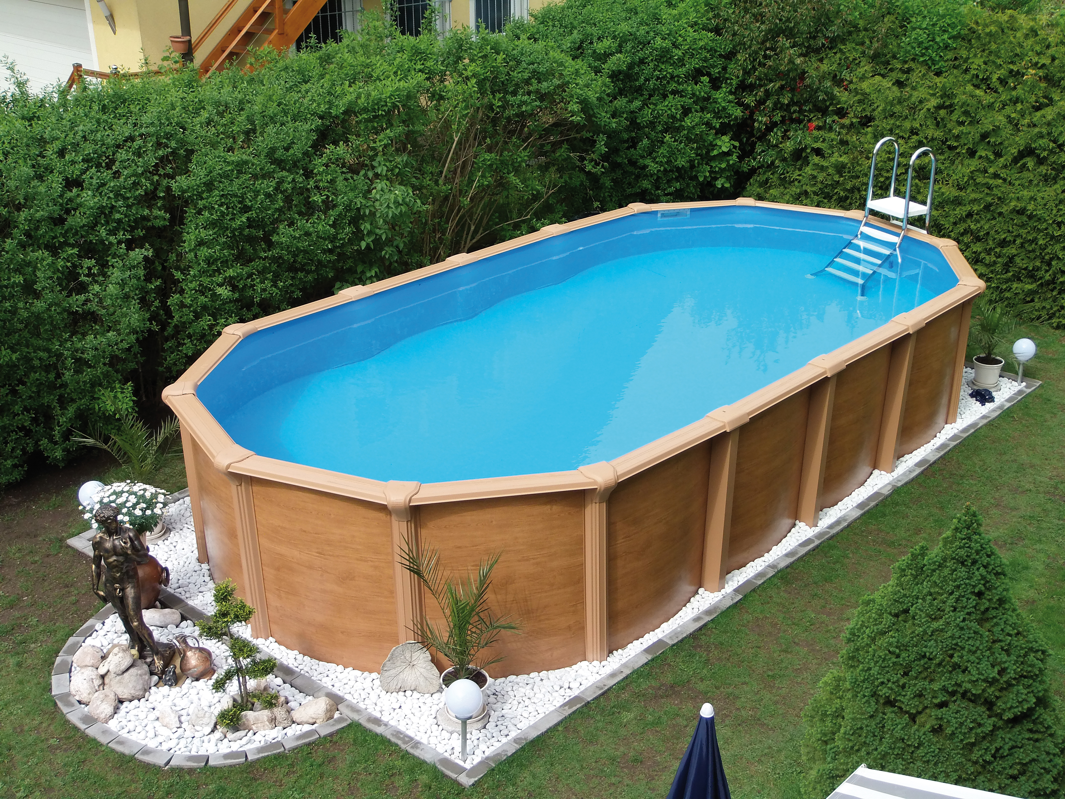 steirerbecken pool supreme clever oval holz optik [6,1 x 3,7 x 1,32