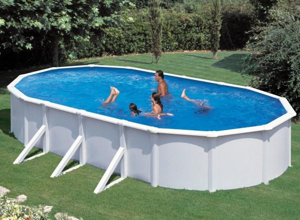 7,3x3,6x1,2m Steirerbecken Pools Steely De Luxe Weiß Oval