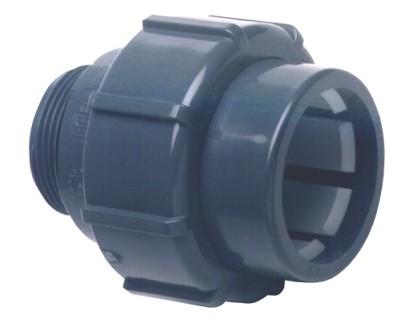 "PVC Fitting Übergangsverschraubung Ø 50 Klemm auf Ø 50mm 1 1/2"" Aussengewinde"