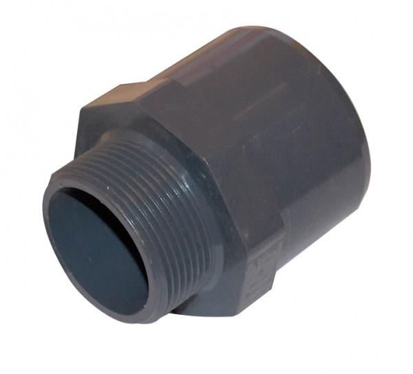 """PVC Fitting Übergangsnippel mit 1 1/2"""" Aussengewinde Ø 50 mm"""