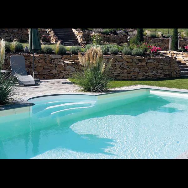 Steirerbceken Pools Beckenrandstein Set Granit Padang Dark für Römertreppe 250